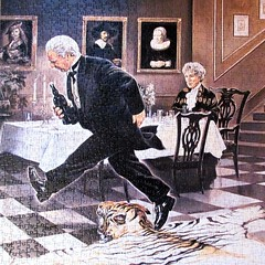 Dinner for One (pefkosmad) Tags: jigsaw puzzle hobby pastime leisure dinnerforone painting renatocasaro humour sketch television tradition recording maywarden freddiefrinton schmidt tv theatre comedy funny