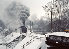 Annaberg DR  |  1987 (keithwilde152) Tags: br86 8610016 annaberg sud dr ddr east germany 1987 town tracks landscape steam locomotives outdoor winter snow sonderzug