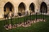 oeuvre d'art au palais des papes d'Avignon (jemazzia) Tags: art avignon palais cour arbres