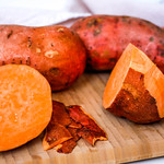 Sweet Potatoes on a Cutting Board thumbnail