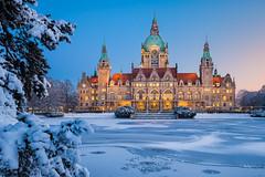 Frozen Kingdom (Michael Abid) Tags: hannover germany rathaus snow winter night niedersachsen lowersaxony cityhall townhall landmark lake blue hanover ice abigfave