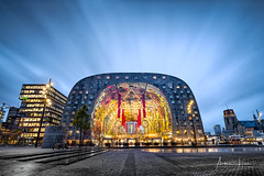 Rotterdam Markthal I (Alec Lux) Tags: rotterdam architecture atmosphere bluehour building city cityscape colorful colors design holland interior lights longexposure market markthal netherlands night nightscape psychedelic skyscraper structure symmetry urban zuidholland nl