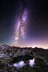 Starry Night (One_Penny) Tags: bayern deutschland germany schrecksee bavaria canon6d hiking lake landscape mountains mountainscape nature photography see night stars milkyway sky mountain island isle light horizon starrynight snow colorful reflection evening late widgeangle 14mm