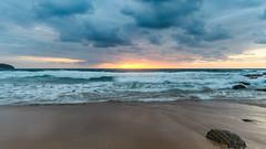 Sunrise Seascape (Merrillie) Tags: daybreak shoreline sand landscape nature water surf clouds outdoors newsouthwales rocks killcarebeach nsw dawn beach ocean coast waves sea coastal seascape sky waterscape photography centralcoast killcare australia