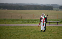 King Arthur on the phone at the Stonehenge Winter Solstice 2017
