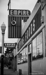 Empire Laundry (Maureen Medina) Tags: maureenmedina artizenimages tucson az arizona streetphotography street laundry old vintage signs bw downtown light