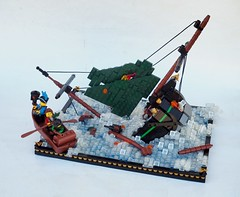 Sinking of the Shuriken (Robert4168/Garmadon) Tags: lego ship sinking boat minifigure brethrenofthebrickseas eslandola captainunriggednordau shootingshuriken water