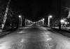 Cluj central park (Tudor Lozba) Tags: night mood park path vanishing point bw