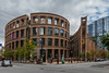 Vancouver Public Library (sierrasylvan) Tags: adobebridgecc2017 adobe adobelightroomcc2015 adobephotoshopcc2017 automobile car buildngs library canon canoneos6d canonef1635mmf28liiusmlens bwmrcfprokaessermancircularpolarizingfilter bw filter lowermainlanddistrictnewwestminister southcoastregion britishcolumbia canada vancouver trees clouds blue architecture black city cityscape outdoor orange green gray landscape red sky summer white