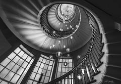 Spiraling upwards (Alec_Hickman) Tags: spiral staircase landmark london city store light shadow blackandwhite monochrome texture depth leadinglines upward windows bannister stairway chandelier lights