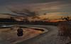 Christmas loneliness (piotrekfil) Tags: nature landscape sunset dusk twilight sky cloud water lake reflections stone sand pentax poland piotrfil
