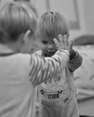 It ´s me (nicolaspetit7878) Tags: bw blackwhite noiretblanc room inside intérieure main visage il he nikond5500 nikon son boy garçon life scène cinématique reflet miroir petit kid children enfant baby bébé