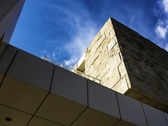 Getty Wall and sky (Thad Zajdowicz) Tags: leica gettycenter gettyinspired architecture building wall abstract sky color blue colour zajdowicz losangeles california usa travel geometry lines angles availablelight lightroom clouds outdoor outside