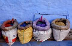 Poudre colorée Maroc_2166 (ichauvel) Tags: poudrecolorée powder couleurs colours murbleu bluewall rue street maroc morocco chefchaouen chaouen chechaouen rif magreb afriquedunord northafrica afrique africa voyage travel exterieur outside médina getty