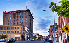 Sunset Time in Butte (Grumpy D. Wharf) Tags: purple montana small city banks bars neon signs old history