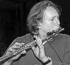 Jazz flautist- Prague (davidsharp159) Tags: jazz prague band flute flautist monochrome blackandwhite blackwhite man music musician musical 201718 newyear portrait