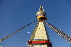 8thC vs 21stC (posterboy2007) Tags: kathmandu nepal baudhanath stupa buddhist buddhism religion temple prayerflags sony airliner airplane architefture