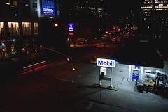 Night Gas Station (R. WB) Tags: new york manhattan mobil gas station petrol car cars night light sign usa