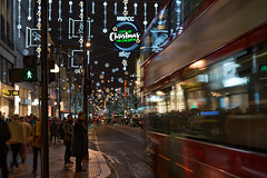 3 Sleeps to go... (Aleem Yousaf) Tags: evening photo walk photography oxford street xmas christmas traffic motion blur slow shutter lights road city london united kingdom nikon 50mm prime buildings nspcc childern sky decorations litup d800 people sign sidewalk padestrians