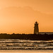 Poolbeg lighthouse, Dublin, Ireland at sunrise..