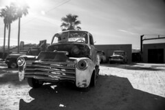 Rusty Gold (Modeflip) Tags: arizona chevy truck chevrolet apache palm trees sky black white old rusty gold