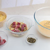 Ham and melted cheese pudding preparation step. (annick vanderschelden) Tags: milk skimmed eggs whisk glass hand lighteffect cooking food pouring adding ingredients pudding recipe preparation mixture bread brown butter ovenproof kitchen absorb liquid parsley dried belgium