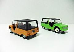 2 CITROEN MEHARI (orange & green) - MONDO MOTORS (RMJ68) Tags: citroen mehari mondo motors vintage collection diecast coches cars juguete toy 143 scale 1968 1988