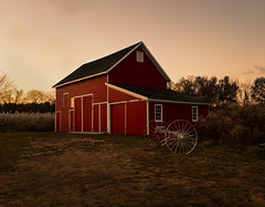 big red (sephrocker) Tags: barn farm sunset warm fall cold red rural