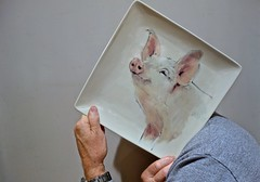 Self-Portrait With Pig Plate (ricko) Tags: selfportrait plate pigplate pig 353365 2017
