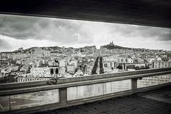 Marseille skyline (Didier AUTRAN) Tags: ricoh 35 fm ilford hp5 400 iso marseille bw noir blanc black white skyline bonne mère notre dame de la garde film