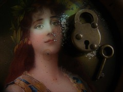 Unlocking Love (Rand Luv'n Life) Tags: odc our daily challenge small macro antique tin lithograph tip tray portrait beautiful woman victorian miniature brass lock key natural indoor light reflection composition love poem text elizabeth barrett browning