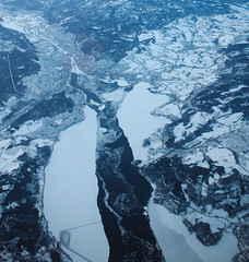 Lakes (mag_mouse) Tags: norway oslo snow ice cool blue flight airplane lake valley