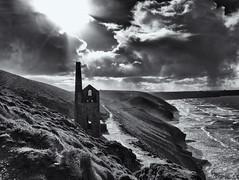 Celestial light (Tim Ravenscroft) Tags: sky light sun whealcoates tinmine coastline coast sea clouds monochrome blackandwhite blackwhite hasselblad hasselbladx1d x1d
