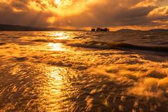 sunset 3188 (junjiaoyama) Tags: japan sunset sky light cloud weather landscape orange contrast colour bright lake island water nature fall autumn rays beams reflection