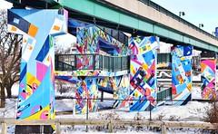 Roncesvalles Bridge Mural, StreetArToronto Underpass Program, 1601 Lake Shore Blvd West, Etobicoke, ON (Snuffy) Tags: streetartorontounderpassprogram 1601lakeshoreboulevardwest toronto ontario canada startup justusroe roncesvallesbridge stepsinitiative