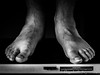 Day 5. (lizzieisdizzy) Tags: blackandwhite blackwhite black whiteandblack white whiteblack monochrome mono monotone monochromatic male chromatic feet pair toes toenails nails foot ankle ankles indoors shoeless step