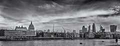 Thames side (David Feuerhelm) Tags: nikkor blackandwhite bw contrast noiretblanc wideangle panorama river buildings cranes dome stpauls london england silverefex nikon d750 nikkor2470mmf28 uk