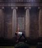 SäulenHeilige (Walther Le Kon) Tags: analog film yoga utthitatrikonasana extendedtrianglepose asana südfriedhof griechischerömischesäulen dorischeordnung laurelei
