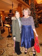 Mother And Daughter? Grandmother And Granddaughter? (Laurette Victoria) Tags: laurette vanessa woman lady dress purse hotel lobby milwaukee friends pfisterhotel