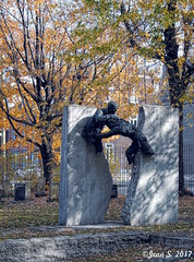 ... (Jean S..) Tags: statue art cemetery graves outdoors autumn fall trees