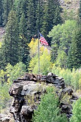 Patriotism on Display (Patricia Henschen) Tags: redcliff colorado mining miningheritage topoftherockies scenicbyway rural mountain eaglecounty town tennesseepass