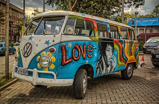 """legendary classic car VW bus T1 """"Love and Peace"""""""