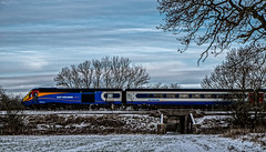 HST (Peter Leigh50) Tags: east midland train trains trees railway railroad rural snow field path bridge farmland high speed hst leicestershire fujifilm fuji xt10 cold december winter