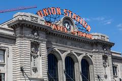 Denver Union Station (string_bass_dave) Tags: flickr railway co denver flag railroad unitedstates amtrak us colorado train trains clock sign denverunionstation unionstation