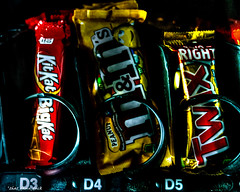 Candy! (that_damn_duck) Tags: vendingmachine candybar candy kitkat mms twix chocolate
