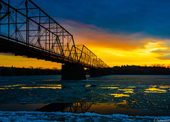 Harrisburg Walnut Street Bridge (charlie_guttendorf) Tags: bridge guttendorf hdr harrisburg nikon nikon18200mm nikond7000 susquehannariver uncoveringpa cold ice reflection scenic sky sunset susquehanna winter walnutstreetbridge cityisland nationalregisterofhistoricplaces