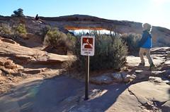 Keep Off Arch (Joe Shlabotnik) Tags: nationalpark mesaarch utah sign 2017 justeverett arch canyonlands everett november2017 canyonlandsnationalpark afsdxvrzoomnikkor18105mmf3556ged