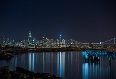the fluorescent pier (pbo31) Tags: eastbay alamedacounty night december winter 2017 color dark black boury pbo31 nikon d810 bayarea sanfrancisco city urban alameda reflection bay water portofoakland marine sail holidays christmas season skyline salesforce transamerica 181fremont financialdistrict cbd baybridge 80 bridge embarcaderocenter star silhouette