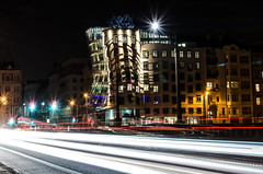 Dancing house (henri_leinonen) Tags: long exposure night travel lights cars europe czech world living love flickr photos amazing architecture winter explore learn colors
