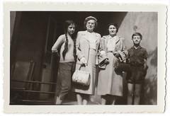 Vintage Snapshot : 2 Siblings with their Grandmothers? (CHAIN12) Tags: vintage photo scan scanned long hair longhair braid braids pigtails ladies boy shorts 1961 group frrl13lot1961braidedpigtailsfamilyportrait